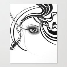 Fashion girl with smoky eyes Canvas Print