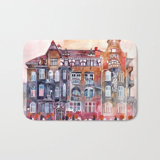 Apartment House in Poznan and orange umbrellas Bath Mat