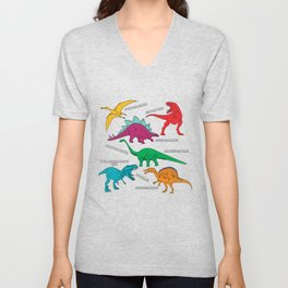 Dinosaur Print - Colors Unisex V-Neck
