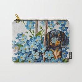 Dachshund and Forget-Me-Nots Carry-All Pouch