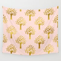 gold foil Wall Tapestries featuring Pink Gold Foil 02 by Aloke Design