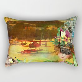 Red Barron Watercolour Rectangular Pillow