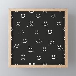 Sad face, happy face, smiley face, eyes heart face, crying face repeated black and white pattern Framed Mini Art Print