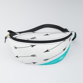 Turquoise black white pattern Boom 2 . Fanny Pack