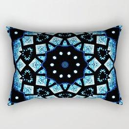 Blue Black Mosaic Kaleidoscope Mandala Rectangular Pillow