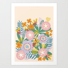 Radiant Flowers Pastel Art Print