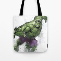 hulk Tote Bags featuring Hulk  by Isaak_Rodriguez