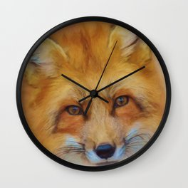 Fox in a close-up Wall Clock