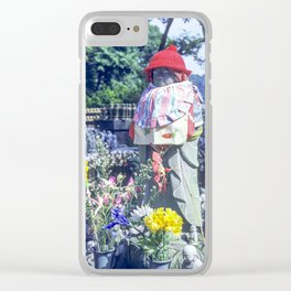 Jizo monk statue with bib and hat Clear iPhone Case