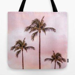 Palm Tree Photography Landscape Sunset Unicorn Clouds Blush Millennial Pink Tote Bag