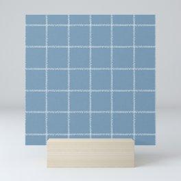 French Blue Linen Check Mini Art Print