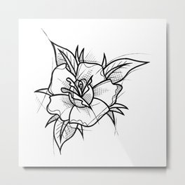 Flower Handmade Drawing, Made in pencil and ink, Tattoo Sketch, Tattoo Flash, Blackwork Metal Print