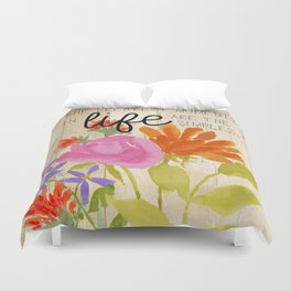 Watercolor Flowers with Saying Duvet Cover