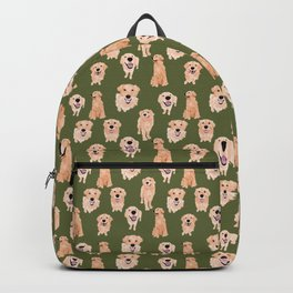 Golden Retriever on Green Backpack