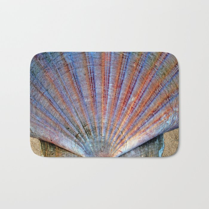 Scallop Shell on the Sand Bath Mat