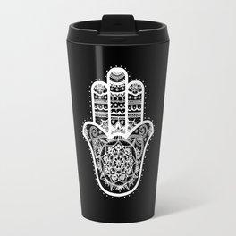 Black & White Hamsa Hand Travel Mug