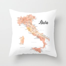 Rose gold Italy map in watercolor Throw Pillow