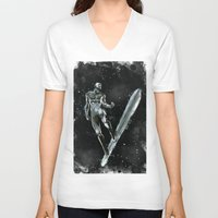 silver V-neck T-shirts featuring Silver by Scofield Designs