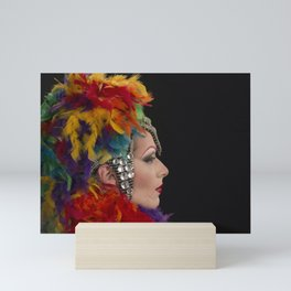 Drag Queen in Rainbow Headdress (Profile) Mini Art Print