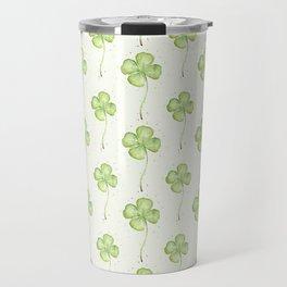 Four Leaf Clover Pattern Travel Mug
