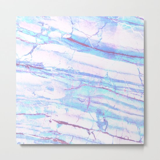 Pastel Marble with Blue Green Purple Metal Print