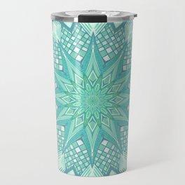 Burst Mandala Turquoise Travel Mug