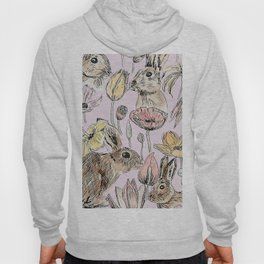 rabbits and flowers with color Hoody