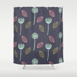 Hand drawn Floral leaves illustration pattern design dark blue Shower Curtain