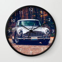 Classic car vintage retro,silver Wall Clock