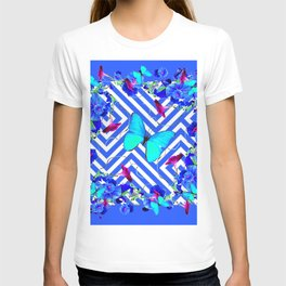 Turquoise Blue Butterflies Morning Glories Abstract T-shirt