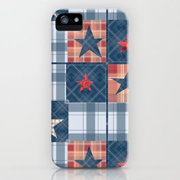 Blue denim plaid patchwork . iPhone Case