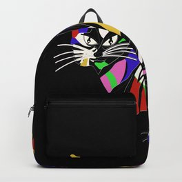 Cute cat,colourful abstract decoration Backpack