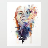 sad Art Prints featuring this thing called art is really dangerous by agnes-cecile