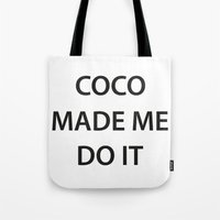 coco Tote Bags featuring Coco  by RadFads