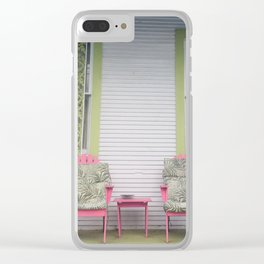 Pink and palm trees Clear iPhone Case