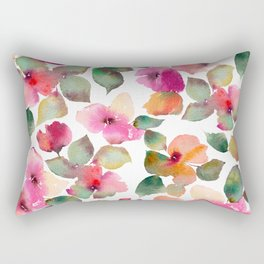 Colorful flowers. Watercolor florals. Apple blossom. Rectangular Pillow