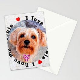 I love my Yorkie Female Yorkshire Terrier Dog Stationery Cards