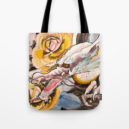 Water Color Dragon and Peonies Tote Bag