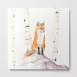 Fox and Birch Trees Metal Print