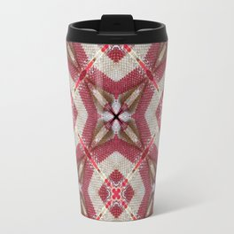 Holiday Red, Cream and Gold Burlap Plaid Pattern Travel Mug