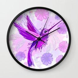 Hummingbird Spirit Purple Watercolor Wall Clock