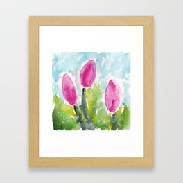 Blushing Tulips Framed Art Print