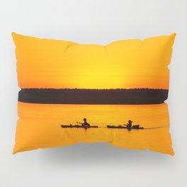 Lake Superior Sunset Kayaks Orange Silhouette Lakeshore Upper Peninsula Michigan  Pillow Sham