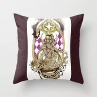tarot Throw Pillows featuring Moon Tarot by A Hymn To Humanity