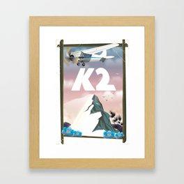 K2 Mountain travel poster. Framed Art Print