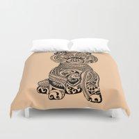 pomeranian Duvet Covers featuring Polynesian Pomeranian by Huebucket