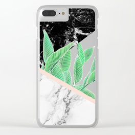Modern tropical palm tree black white marble color block pastel blush pink Clear iPhone Case