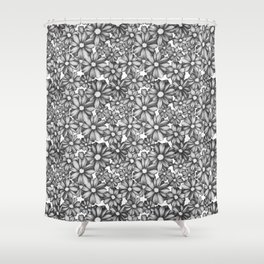 Etchy Flower Shower Curtain