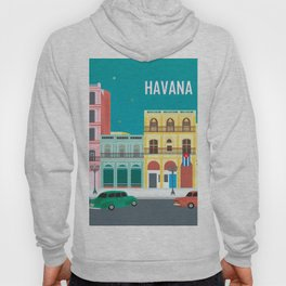 Havana, Cuba - Skyline Illustration by Loose Petals Hoody