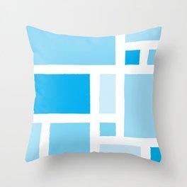 Mondrian has the Blues Throw Pillow